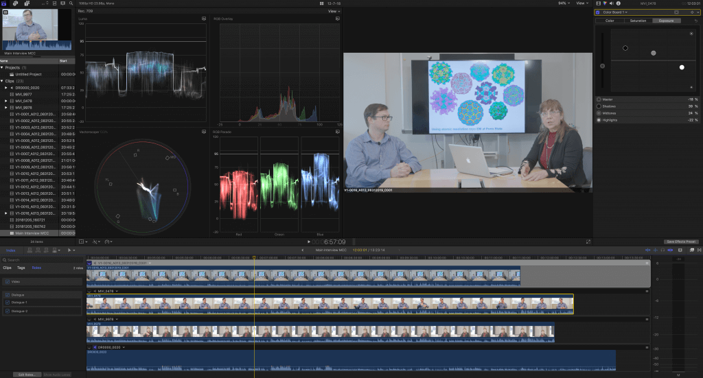 Scopes and multicam clips in Final Cut Pro